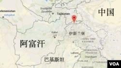 红色箭头指向发生地震的兴都库什地区