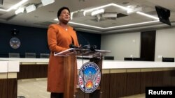 Atlanta City Council President Felicia Moore speaks about the last week's cyberattack on city computers in Atlanta, Georgia, March 29, 2018.