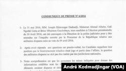 Au Tchad les candidats malheureux à l'élection présidentielle du 10 avril convoqué avant hier à la police judiciaire pour affaire des militaires présumés disparus viennent de publier un communiqué de presse que voici en attache le communiqué en question