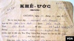Một khế ước thuê ruộng trước năm 1975 của người dân canh tác ở vườn rau Lộc Hưng (FB Hai Van Nguyen)