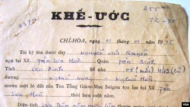 Một khế ước thuê ruộng trước năm 1975 của người dân canh tác ở vườn rau Lộc Hưng (FB Hai Van Nguyen).