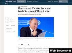 The screenshot shows a British newspaper article alleging Russia interfered in the Brexit referendum.