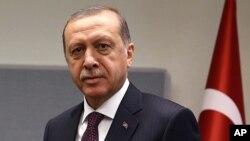 Le président Recep Tayyip Erdogan de la Turquie, lors de l'Assemblée générale de l'ONU, New York, 20 septembre 2017.
