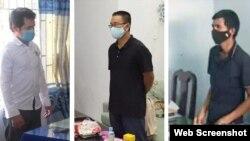 Các ông Bạch Văn Hiền, Lê Trung Thu và Phùng Thanh Tuyến. Photo Cơ quan An ninh điều tra Công an Quảng Ngãi via Báo Quảng Ngãi