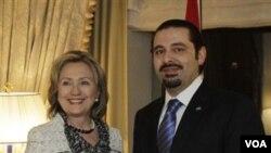 Menlu AS Hillary Rodham Clinton saat bertemu PM Lebanon Saad Hariri di New York, Jumat 7 Januari 2010.