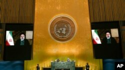 ابراهیم رئیسی، رئیس جمهوری ایران، در حال سخنرانی از پیش ضبط شده در نشست سالانه مجمع عمومی سازمان ملل؛ سه شنبه ۳۰ شهریور ۱۴۰۰