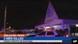 TKP penembakan klab malam di klelab malam Blu, Fort Myers, negara bagian Florida Senin (25/7) dini hari. (WBBH via AP)