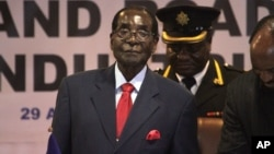 FILE - Zimbabwean President Robert Mugabe attends last years's Southern African Development Community (SADC) Heads of State and Government Extraordinary Summit in Harare, Apr. 29, 2015.