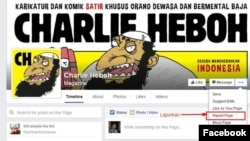 Screenshot foto di laman Facebook 'Charlie Heboh' yang kini sudah diblokir oleh Kemenkominfo (foto: dok).