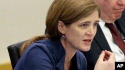 사만사 파워 유엔 주재 미국대사가 30일 뉴욕 유엔 본부에서 열린 북한 인권 토론회에서 발언하고 있다.