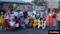 在美國的緬甸裔人開展民主之旅促緬甸恢復民主。(2021年7月18日)