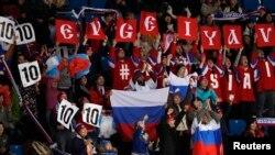 俄罗斯运动员支持者2018年2月9日在韩国平昌助威(路透社)