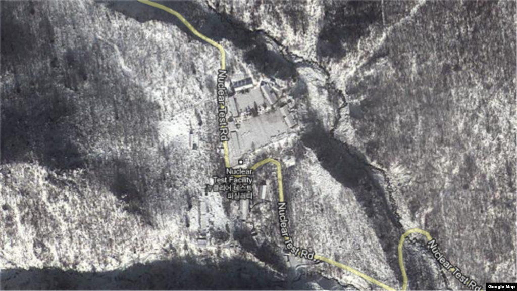 A screen grab of the Nuclear Test Facility site in North Korea, via Google Maps satellite view.