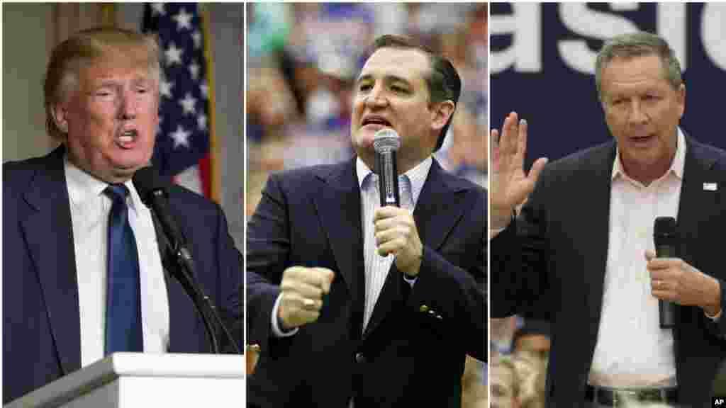 Les trois candidats republicaine Donald Trump,Ted Cruz, John Kasich restant toujous dans la course pour le poste présidentielle.