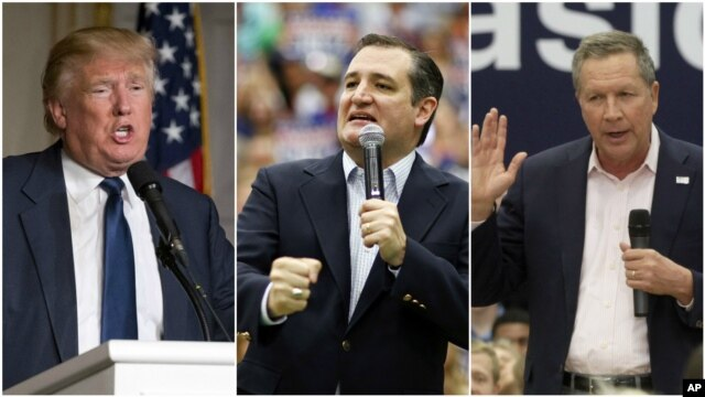 From left, Republican presidential candidates businessman Donald Trump, in Palm Beach, Fla.; Texas Senator Ted Cruz, in Provo, Utah; Ohio Governor John Kasich, in Orem, Utah, criticize President Barack Obama's travels to Cuba.