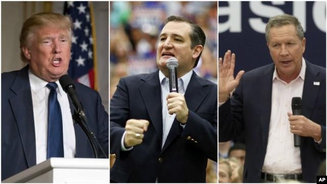 From left, Republican presidential candidates businessman Donald Trump, in Palm Beach, Fla.; Texas Senator Ted Cruz, in Provo, Utah; Ohio Governor John Kasich, in Orem, Utah, criticize President Barack Obama's travels to Cuba.