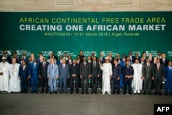 The African Heads of States and Governments pose during an African Union Summit for the agreement to establish the African Continental Free Trade Area in Kigali, Rwanda, March 21, 2018.