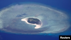 An aerial view of uninhabited island of Spratlys in the disputed South China Sea, April 21, 2017.