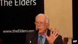 美國前總統卡特9月26日在仰光舉行的記者會上