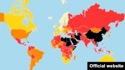 چند کشور از جمله ایران و عربستان در این نقشه به رنگ سیاه مشخص شده اند که نشان از وضع وخیم آزادی بیان در این کشورها دارد.