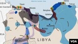 """ლურჯი - """"ლიბიის ეროვნული არმიის"""" კონტროლის არეალი, შინდისფერი - """"ეროვნული თანხმობის მთავრობის"""", წითელი - """"ალ ყაიდას"""" და შავი - """"ისლამური სახელმწიფოს"""" გავლენის ზონები"""