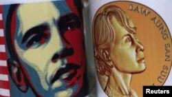 16일 바락 오바마 미 대통령의 방문을 앞두고 버마에서 팔리고 있는 기념 머그컵.