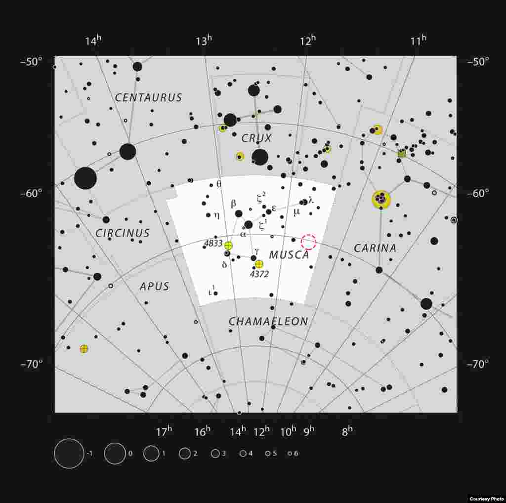 This chart shows the position of the young star HD 100546 in the southern constellation of Musca (The Fly). Most of the stars that are visible to the unaided eye from a clear and dark site are shown. (ESO, IAU and Sky & Telescope)