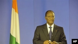 President-elect Alassane Ouattara addresses the nation from the Golf Hotel after former president of Ivory Coast Laurent Gbagbo was arrested by forces that stormed the bunker where he hung on to power in Abidjan, Ivory Coast, April 11 2011