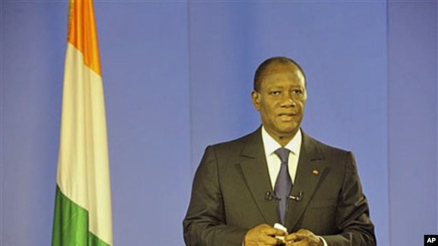 President Alassane Ouattara addresses the nation from the Golf Hotel after former president of Ivory Coast Laurent Gbagbo was arrested by forces that stormed the bunker where he hung on to power in Abidjan, Ivory Coast, April 11 2011