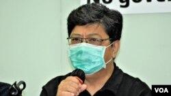 香港記者協會主席楊健興。(美國之音 湯惠芸 拍攝)