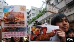 諷刺示威 反對過多大陸客影響港人生活