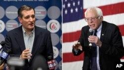 راست - برنی سندرز دموکرات، چپ - تدکروز جمهوریخواه
