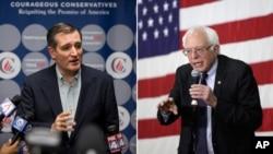 美国共和党总统参选人克鲁兹和民主党总统参选人桑德斯