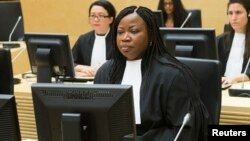 FILE - ICC chief prosecutor Fatou Bensouda looks on during the case against Congolese militia leader Bosco Ntaganda [not shown] at the International Criminal Court in The Hague, Feb. 2014.