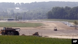 Construction continues in the plaza area of the permanent Flight 93 Memorial site, July 22, 2011, in Shanksville, Pennsylvania
