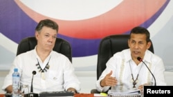 Este 30 de septiembre el presidente de Colombia, Juan Manuel Santos, y el de Perú, Ollanta Humala, se reunieron en Iquitos.