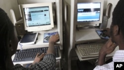 Nigerians browse the internet at a cybercafe in Lagos, Nigeria. (File)