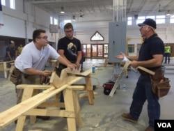 Of the 755 apprentices at the Ohio Carpenters Joint apprentice training center in Richfield, Ohio, 475 have had at least some college credits. (VOA/ C. Presutti)