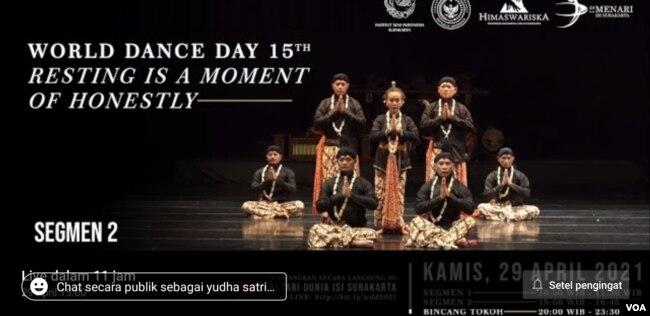 Informasi perayaan Hari Tari Dunia yang digelar ISI Solo disiarkan langsung di media sosial kampus tersebut, Kamis (29/4). (Foto: screenshot)
