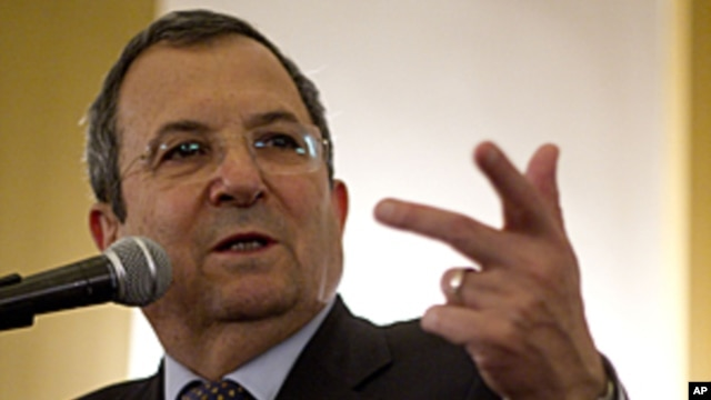 Israel's Defense Minister Ehud Barak delivers a speech to the Foreign Press Association members in Jerusalem, April 30, 2012.