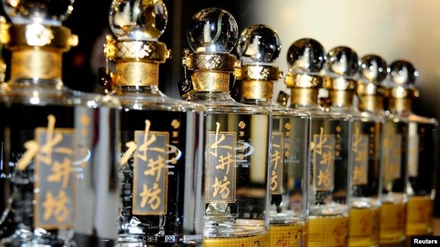 Bottles of Sichuan Swellfun baijiu at promotional event, Beijing, Oct. 2, 2011.