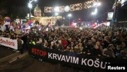 Učesnici protesta u Beogradu, 29. decembra 2018. godine (Foto: Reuters/Marko Đurica)