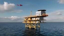 Mô hình dàn khoan dầu khí mỏ Cá Voi Xanh. Một chuyên gia ở Washington nói Mỹ không muốn ExxonMobil bị Trung Quốc hăm dọa tiếp theo những gì Bắc Kinh đang làm ở Bãi Tư Chính. (Ảnh chụp màn hình video giới thiệu dự án Cá Voi Xanh của ExxonMobil)