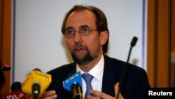 FILE - United Nations High Commissioner for Human Rights Zeid Ra'ad al-Hussein of Jordan address a news conference during his visit in Ethiopia's capital Addis Ababa, May 4, 2017.