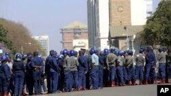 Armed Riot Police Presence in Harare Zimbabwe Elections
