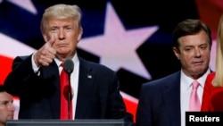 دونالد ترامپ نامزد حزب جمهوریخواه در انتخابات ریاست جمهوری نوامبر ۲۰۱۶ و پال منافورت رئیس ستاد انتخابات او در کلیولند - آرشیو