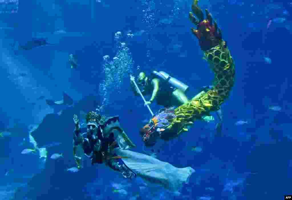Para penyelam mengenakan kostum Dewi Laut (kiri) dan Ular Naga (dragon) menjelang perayaan tahun baru China di taman Aquarium Sentosa, Singapura.