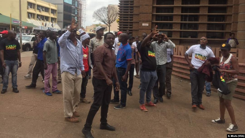 Zimbabwe opposition youths protest against the country's deteriorating economic conditions, in Harare, September 2017.