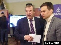 前國家杜馬議長謝列茲尼奧夫(左)(美國之音白樺拍攝)