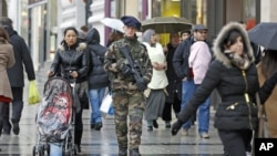 A French army soldier patrols down the Champs Elysee in Paris, January 15, 2013.